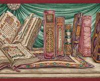 Book Shelf Religious Latin Green Swag 9 Wide Wallpaper Border Wall