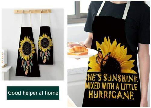 Cooking Apron,Unisex Sunflower Bib Apron for BBQ Cooking Baking Gardening Kitche