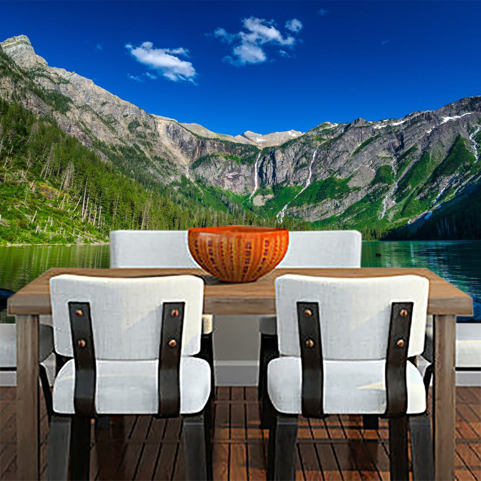 3D Mountains Nature Lake Wall Paper Wall Print Decal Wall Deco Indoor wall Mural