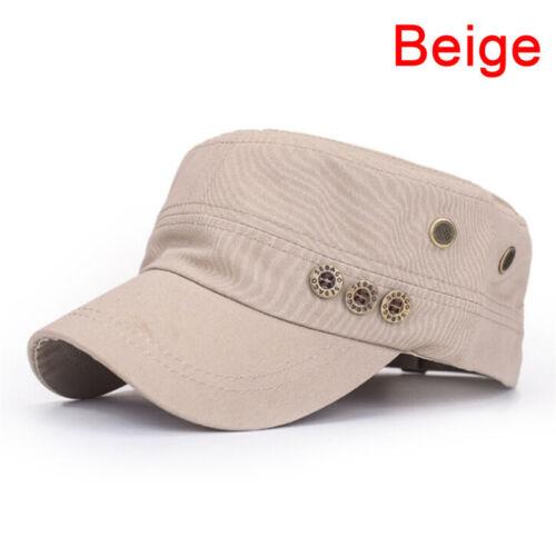 RUassic Plain Hat Vintage Army Military Cadet Style Cotton Cap Adjustable Uni JX
