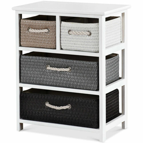 Storage Drawer Unit 4 Woven Basket Cabinet Chest Bedside Table Nightstand