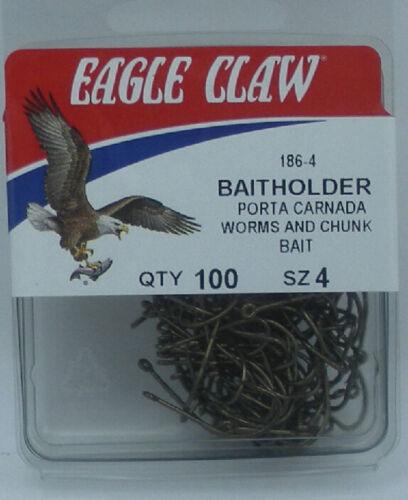 Eagle Claw 186-4  Bronze Baitholder Hooks Size 4 17291