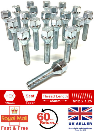 20 x M12 x 1.25 45mm extended thread 19mm Hex alloy wheel bolts for Jeep