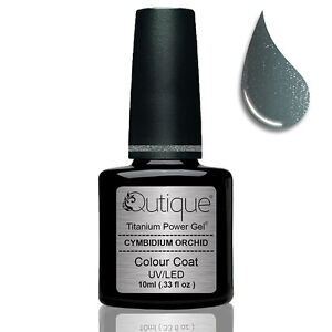 QUTIQUE-Gel-Nail-Polish-Colour-CYMBIDIUM-ORCHID-silver-dark-green-Nail-Wipes