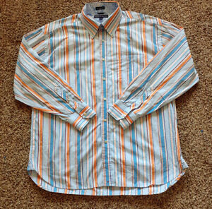 Vintage-Colorful-Tommy-Hilfiger-Mens-Striped-Shirt-80s-2ply-Fabric-XL-NWOT