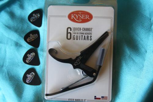 FREE Picks Kyser Quick-Change Black Acoustic Guitar Capo KG6B,