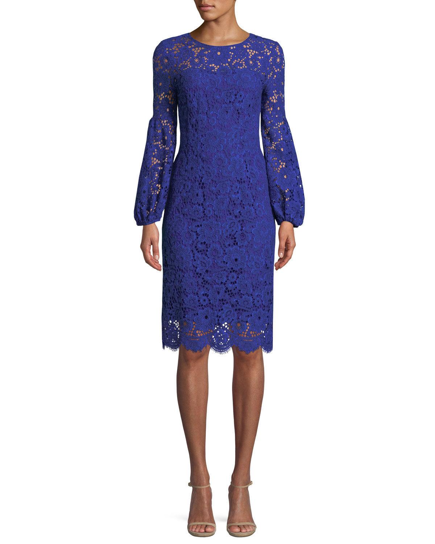 698 ELIE TAHARI WOMEN'S blueE FLORAL LACE BLOUSON-SLEEEVE SHEATH DRESS SIZE 0