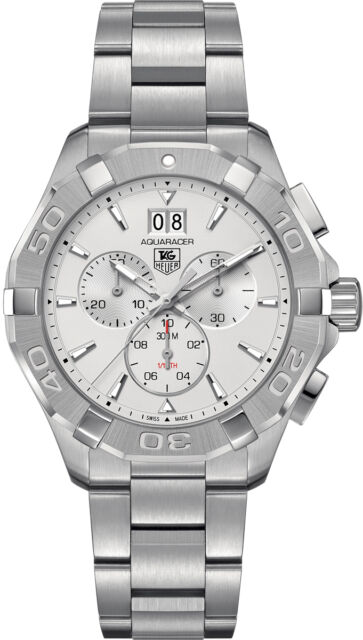 54f1abb1a5f CAY1111.BA0927 Tag Heuer Aquaracer Mens Watch Quartz Chrono Silver Dial SS  NEW