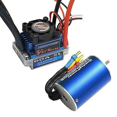 HP 60A ESC Brushless Speed Controller + 3650 5200KV Motor for 1/10 1/12 RC Car
