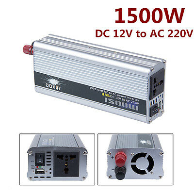 1500W Watt Car Power Inverter DC 12V to 220v AC Adapter Converter Laptop Charger