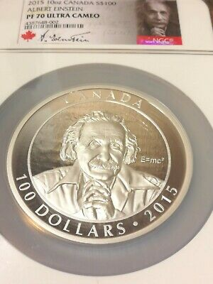 Coins & Paper Money Professional Sale 2015 10oz Canada S$100 Albert Einstein Pf 70 Ultra Cameo Coin #003/1500 To Ensure Smooth Transmission Coins: Canada