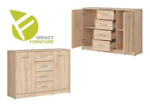 Details About Modern Sonoma Oak Effect Large Sideboard Storage Cabinet 2 Doors 4 Drawers Nepo