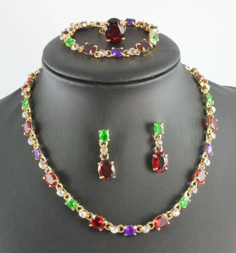 Wedding jewelry african Crystal 18K Gold Plated Statement Necklace jewelry set