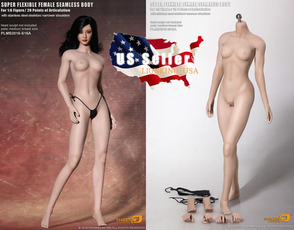 Phicen 1 6 busto de cuerpo femenino sin costuras pálido M Super-Flexible esqueleto de acero S16A