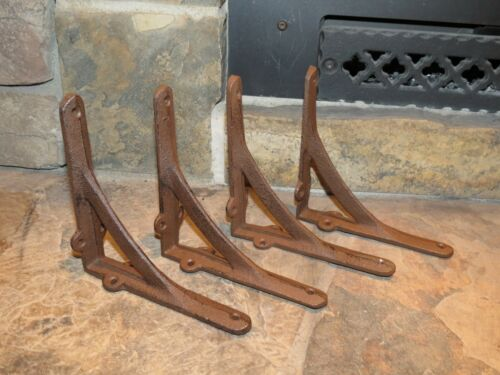 "Set of 4 Medium Simple Arch Cast Iron Shelf Brackets Measures  6/"" x 6/"" Brace"