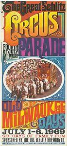 Vintage 1969 Schlitz Beer Milwaukee Cricus Parade Potser