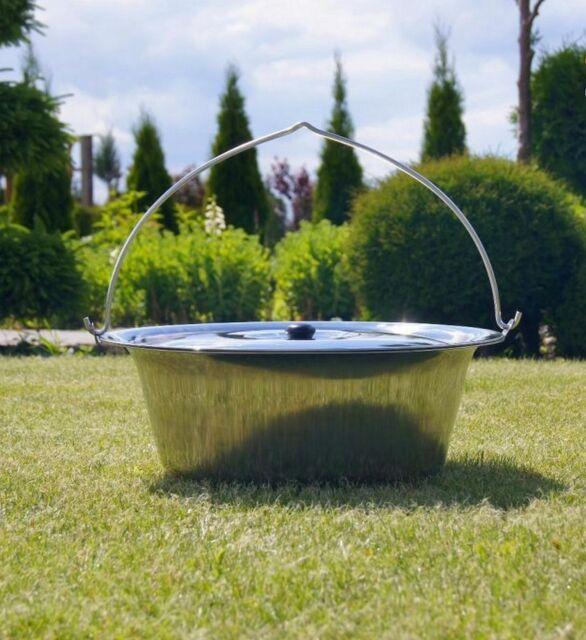 Gulaschkessel Gardener Edelstahlkessel INOX 14l mit Deckel Grillzubehör Topf