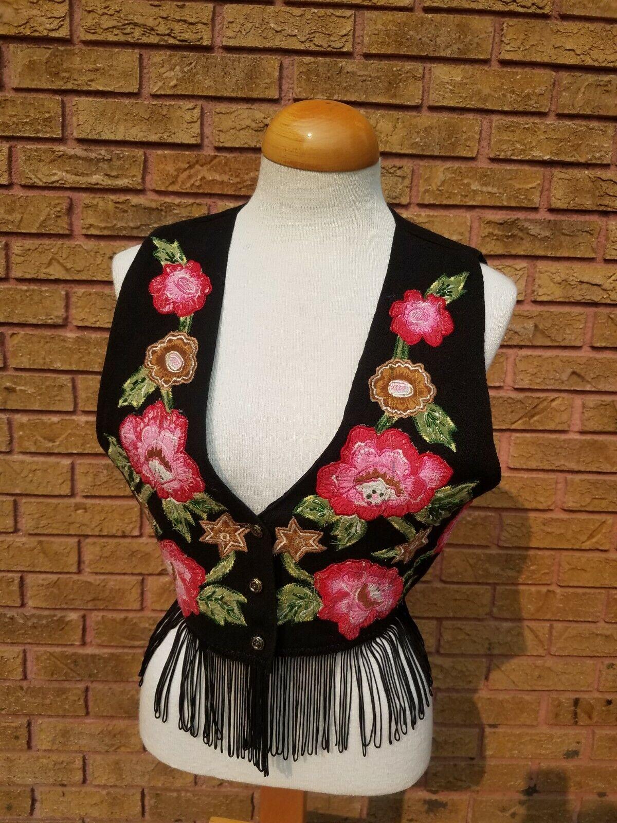 Fringed Vtg Embroidered Floral Vest Boho Hippie Festival Beaded JouJou M Lurex