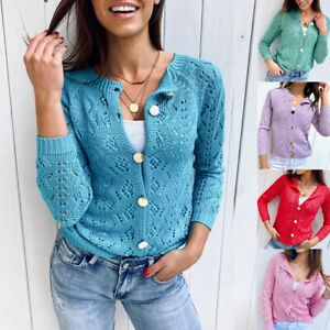 Womens-Hollow-Sweater-Shirt-Hollow-Knit-Long-Sleeve-Casual-Loose-Cardigan-Top