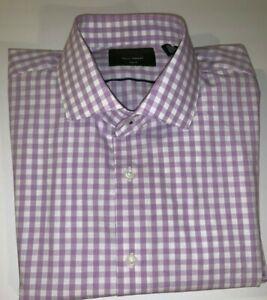 NORDSTROM-TECH-SMART-TRIM-FIT-Men-039-s-Purple-Check-Shirt-Size-16-34-35-NWOTD