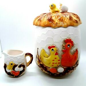 Sears-Roebuck-amp-Co-Chicken-amp-Egg-Canister-and-Creamer-Vintage-1978-Japan