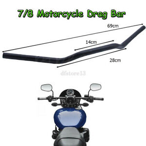7-8-039-039-22mm-GUIDON-FLYER-BAR-NOIR-HANDLEBARS-POUR-HARLEY-BOBBER-CHOPPER-CUSTOM