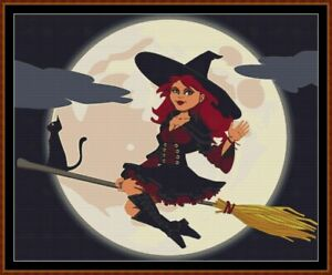 FLYING-HIGH-cross-stitch-pattern-PDF-point-de-croix-witch