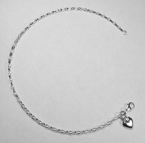 Kette mit Herz  bis 25,5 cm  Nr 13 Fußkette Silber 925
