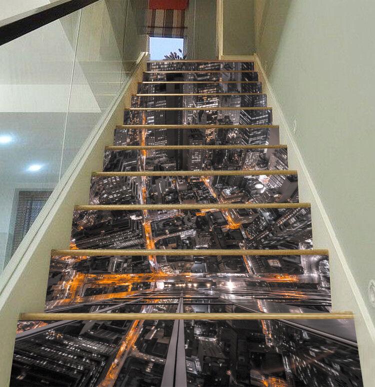 3D city street building Risers Decoration Photo Mural Vinyl Decal Wallpaper US