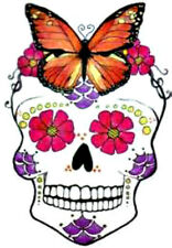 20  WATER SLIDE NAIL ART  DECAL TRANSFERS SUGAR SKULL WITH BUTTERFLY ON HEAD