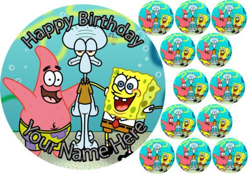 "7.5/"" Cake Topper 12 cupcake Spongebob personal Rice paper,Icing fondant.817"