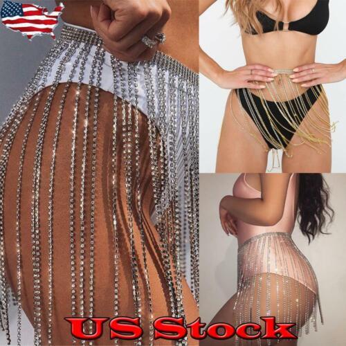Women Nightclub Fringe Skirts Waist Chains Fringed Ladies Body Jewelry Party US