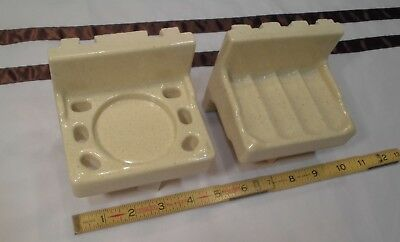 cup holder by Fairfacts NOS Vintage Ceramic *Oatmeal Color* Sink Set; soap dish