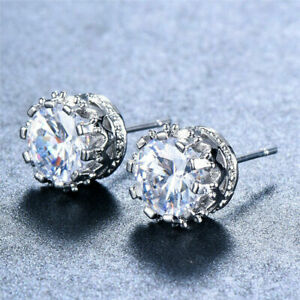 f6dcab89b Image is loading Women-925-STERLING-SILVER-Plated-Princess-STUD-Queen-