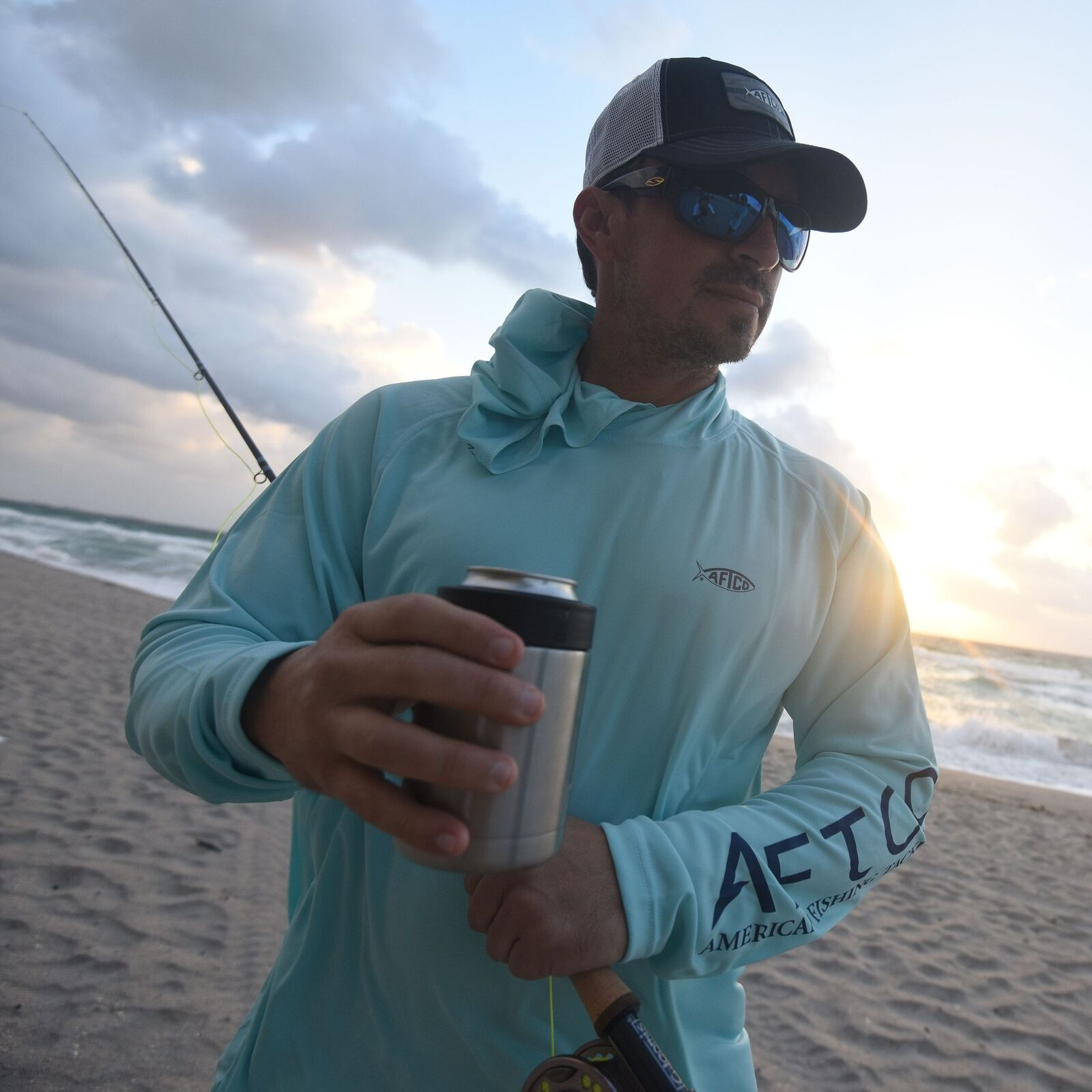 AFTCO Samurai Sun Predection Hoodie-Fishing Shirt-UPF 50-Mint Green -Free Ship