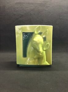 Royal Copley mid century chartreuse square planter with deer