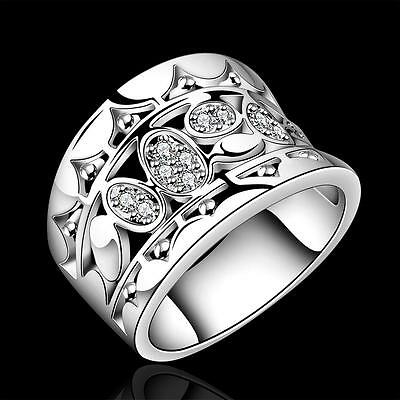 Hot sale 925 Silver Natural Crystal Wedding Ring Women Fashion Jewelry Size 7 8