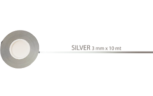 Silver Quattroerre 10002 Strisce Adesive Rotolo 10 Metri x 3 Mm