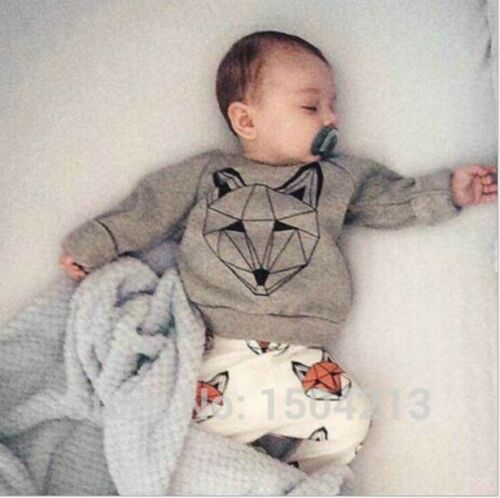 pants outfits /& Sets kid Boys Clothing Wolf 2PCS Toddler baby Boys Cotton Tops
