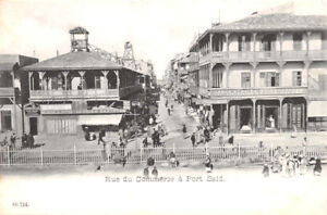 PORT-SAID-EGYPT-RUE-du-COMMERCE-COAST-GUARD-OFFICE-PHOTO-POSTCARD-1904