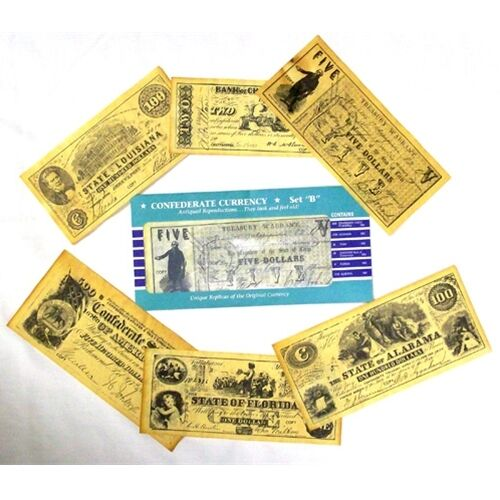 CIVIL WAR CONFEDERATE CURRENCY SET B  REPO $500,$100 $5 $2 AND $1  37245