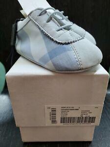 Burberry-Children-Baby-Ice-Blue-Plaid-Crib-Shoes-Unisex-Size-19-Boys-Girls-Nib