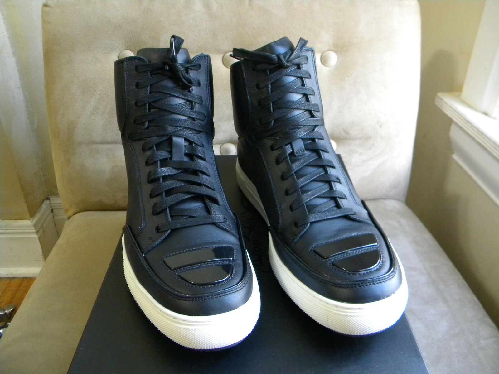 ALEJANDRO INGELMO BLACK LEATHER HIGH TOP WITH BACK ZIPPER JEDDI SNEAKERS SHOE 95