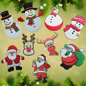 Santa-Claus-Reindeer-Snowman-Christmas-Xmas-Embroidered-SEW-Iron-On-Patch-Badge