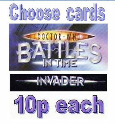 Doctor Who INVADER cards 376-600, ONLY 10p EACH common and rare battles in time