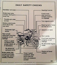 KAWASAKI H1 H1D H1E H1F 500 DAILY SAFETY CHECKS CAUTION DECAL