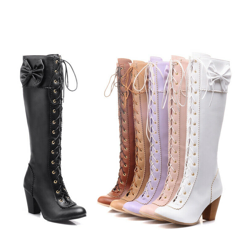 Women Lace Up Mid-calf Boots Round Toe Block High Heel Casual Ladies Party Dress
