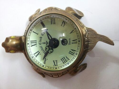 Antique Brass Wall Clock In Hanging Reenactment /& Table Top Tortoise Shape Decor