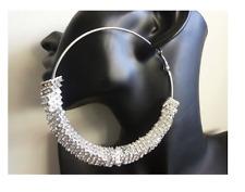 90mm Hoop Silver Square Crystal Rhinestone  Beads basketball wives earrings