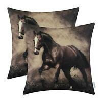 Wild Horse Print Throw Pillow Covers 18 X 18 Western Set 2 Hiend Decor